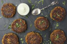 vegan gluten-free burgers by gala's organic kitchen advertising a free cooking class Saturday 23 January 2021