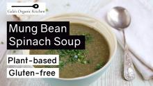 mung bean soup in bamboo bowl with silver spoon
